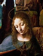 Christian Painting Framed Prints - Detail of the Head of the Virgin Framed Print by Leonardo Da Vinci