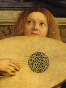 Playing Music Framed Prints - Detail of the San Giobbe Altarpiece Framed Print by Giovanni Bellini