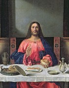 Frontal Metal Prints - Detail of The Supper at Emmaus Metal Print by Giovanni Bellini