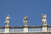 Historic Statue Prints - Details of statues on Saint Peters Basilica. Vatican City. Rome. Lazio. Italy. Europe  Print by Bernard Jaubert