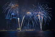 Pyrotechnics Prints - Detroit Area Fireworks 30 Print by Paul Cannon