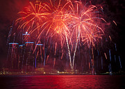 Pyrotechnics Prints - Detroit Area Fireworks 31 Print by Paul Cannon
