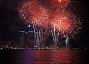 Pyrotechnics Prints - Detroit Area Fireworks 32 Print by Paul Cannon