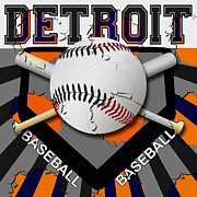 Baseball Art Digital Art Framed Prints - Detroit Baseball  Framed Print by David G Paul