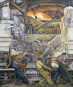 Interior Paintings - Detroit Industry  North Wall by Diego Rivera
