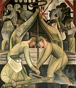 Overalls Painting Posters - Detroit Industry  south wall Poster by Diego Rivera