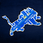 Lions Metal Prints - Detroit Lions Football Team Retro Logo License Plate Art Metal Print by Design Turnpike