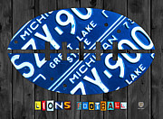 Football Mixed Media Framed Prints - Detroit Lions Football Vintage License Plate Art Framed Print by Design Turnpike