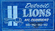 Nfl Posters - Detroit Lions Sign Poster by Bill Cannon