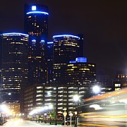 Detroit Night Scape Print by Rexford L Powell