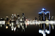 Sky Line Framed Prints - Detroit Night Skyline Framed Print by Alanna Pfeffer