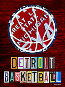 Sports Art Mixed Media Framed Prints - Detroit Pistons Basketball Vintage License Plate Art Framed Print by Design Turnpike