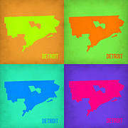 World Map Digital Art Metal Prints - Detroit Pop Art Map 1 Metal Print by Irina  March