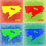 World Map Digital Art Metal Prints - Detroit Pop Art Map 2 Metal Print by Irina  March