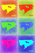 Maps Mixed Media Framed Prints - Detroit Pop Art Map 3 Framed Print by Irina  March