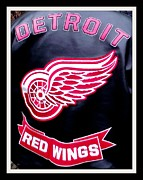 Sports Lover Framed Prints - Detroit Red Wings on Leather Framed Print by Gail Matthews