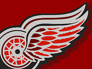 Hockey Painting Metal Prints - Detroit Red Wings Metal Print by Tony Rubino