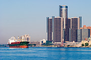 Detroit River Framed Prints - Detroit Renaissance Center Framed Print by James Marvin Phelps