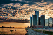 Detroit Prints - Detroit Riverfront Sunset Print by Rod  Arroyo