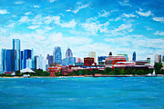 Detroit Painting Posters - Detroit Riverfront Poster by Suzanne Johnson