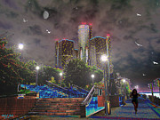 Riverfront Park Digital Art Prints - Detroit Riverwalk Print by Michael Rucker