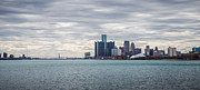 Detroit River Framed Prints - Detroit Skyline and Ambassador Bridge  Framed Print by John McGraw