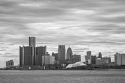 Pure Michigan Framed Prints - Detroit Skyline in Black and White Framed Print by John McGraw