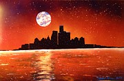 Detroit Painting Posters - Detroit Skyline Poster by Michael Rucker