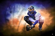 Comerica Framed Prints - Detroit Tiger Alex Avila Framed Print by Photographartist Nicholas Grunas