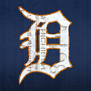 Travel Mixed Media Prints - Detroit Tigers Baseball Old English D Logo License Plate Art Print by Design Turnpike