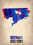 Modern Poster Framed Prints - Detroit Watercolor Map Framed Print by Irina  March