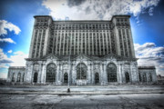 Canon Digital Art Posters - Detroits Abandoned Michigan Central Train Station Depot Poster by Gordon Dean II