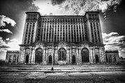 Asbestos Digital Art - Detroits Abandoned Michigan Central Train Station Depot in Black and White by Gordon Dean II