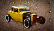 Graffitti Coupe Prints - Deuce Coupe on Rust  Print by Steve McKinzie
