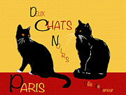 Paris Black Cats Framed Prints - Deux Chats Noirs Framed Print by Stuart Fowle