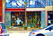 St.henri Framed Prints - Deuxiemement Antiques Shop Notre Dame St Henri Streets In Winter Montreal City Scenes Carole Spandau Framed Print by Carole Spandau