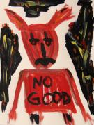 Satan Drawings - devil with NO GOOD tee shirt by Mary Carol Williams