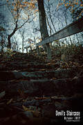 Wooden Stairs Digital Art Prints - Devils Staircase Print by Jeff Bell