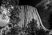 Horn Bear Framed Prints - Devils Tower BW Framed Print by Sandy Fraser