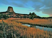 Daybreak Framed Prints - Devils Tower Daybreak Framed Print by Benjamin Yeager