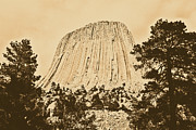 Destinations Digital Art Posters - Devils Tower National Monument Between Trees Wyoming USA Rustic Poster by Shawn OBrien