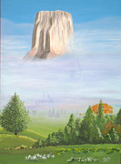 Wyoming Paintings - Devils Tower  by Phyllis Kaltenbach