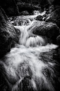 Flowing Water Prints - Devon River Monochrome Print by Tim Gainey