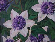 Hybrid Paintings - Dew On the Clematis by Sharon Duguay