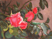 Adobe Pastels Prints - Dewy Roses Print by Julie Mayser
