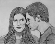 Michael C Hall Prints - Dexter and Deb Original Graphite Sketch Print by Jeff McJunkin