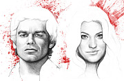 Pencil Mixed Media Posters - Dexter and Debra Morgan Poster by Olga Shvartsur