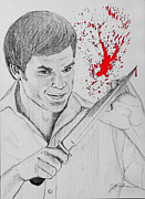Michael C Hall Prints - Dexter Blood Splatter Print by Jeff McJunkin