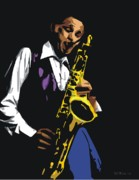 Saxophonists Framed Prints - Dexter Gordon Framed Print by Walter Neal