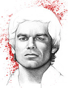 Pencil Drawing Prints - Dexter Morgan Print by Olga Shvartsur